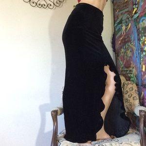 Max Nugus Skirts - Max Nugus Couture Black Velvet Slit Maxi Skirt
